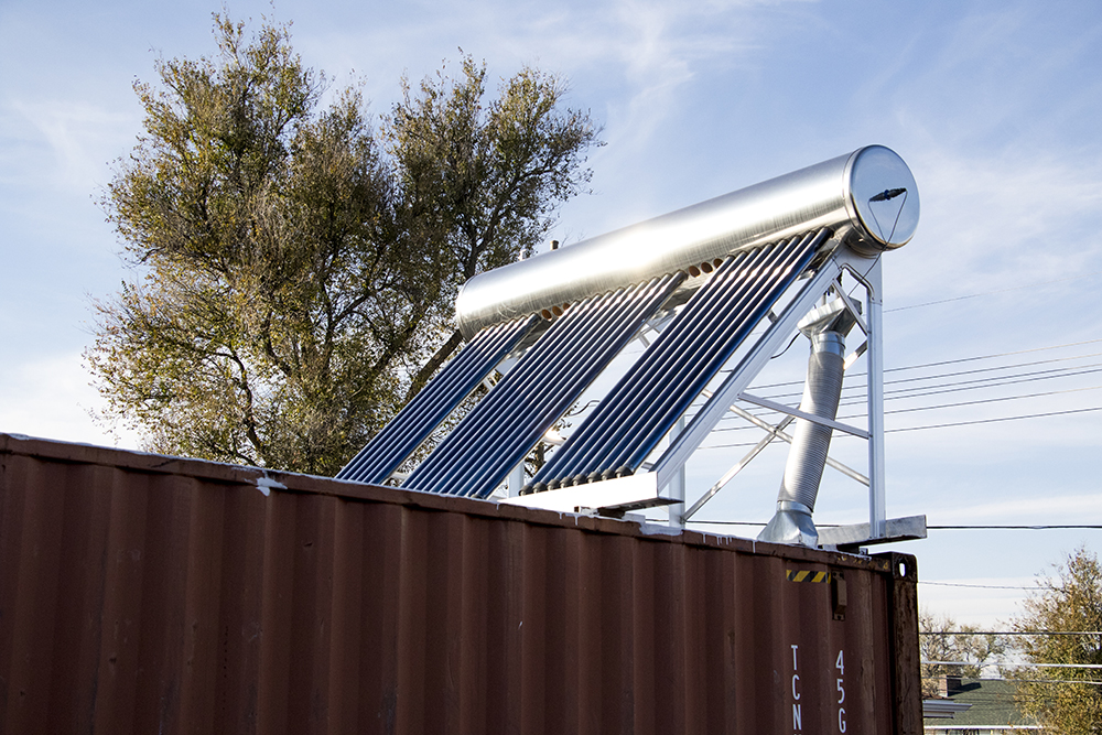 A solar heating unit atop the Rocky Mountain Micro Ranch, Nov. 3, 2017. (Kevin J. Beaty/Denverite)  denver; colorado; insects; agriculture; bug farm; food; sustainability; morrison road; westwood; denverite; kevinjbeaty;