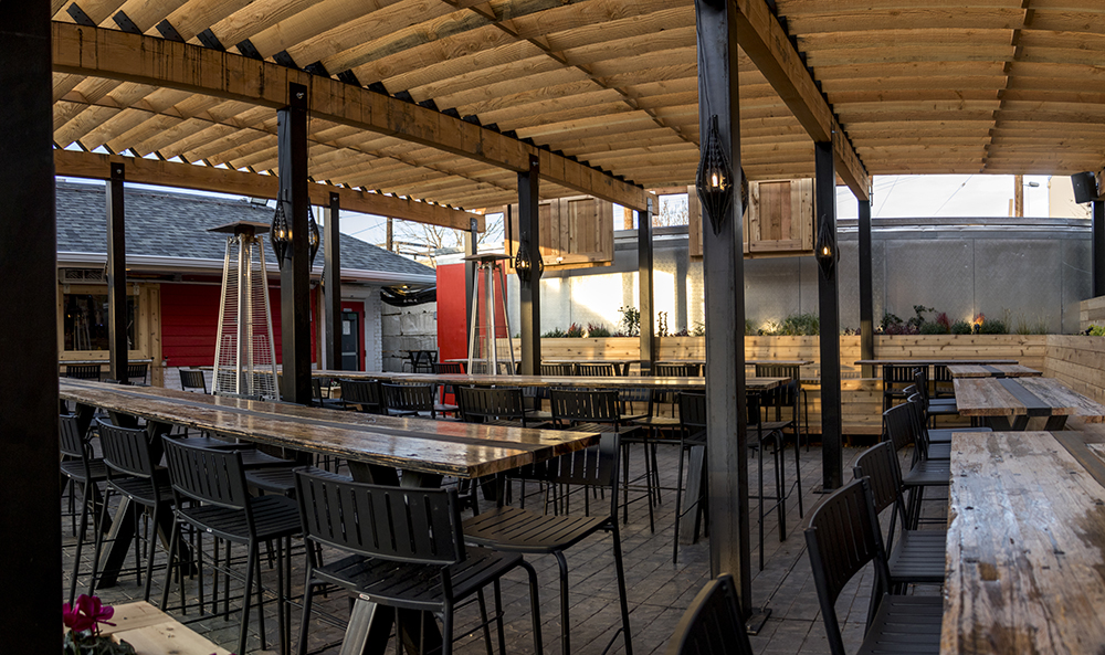 The patio at Rino Beer Garden on Walnut Street, Nov. 6, 2017. (Kevin J. Beaty/Denverite)  food; restaurant; kevinjbeaty; denver; denverite; colorado; nightlife; bar; five points; rino;