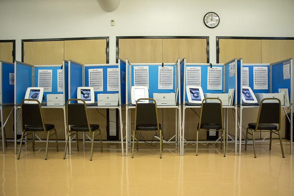 Voting booths at the Harvey Park Recreation Center. (Kevin J. Beaty/Denverite)