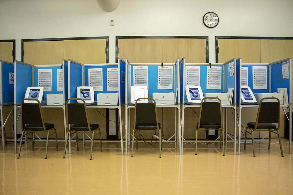 Voting booths at the Harvey Park Recreation Center. (Kevin J. Beaty/Denverite)