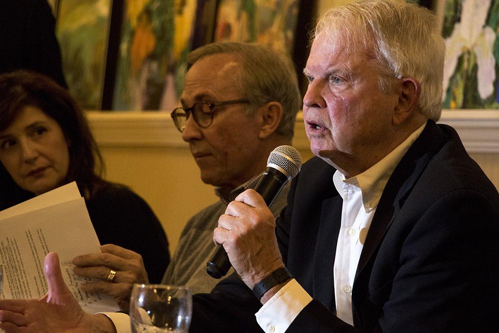 Former CEO of the Metro Denver Economic Development Corp. Tom Clark and former Colorado Gov. Dick Lamm speak about Amazon at the Denver Press Club, Nov. 13, 2017. (Kevin J. Beaty/Denverite)  denver; colorado; denverite; kevinjbeaty; dick lamm;