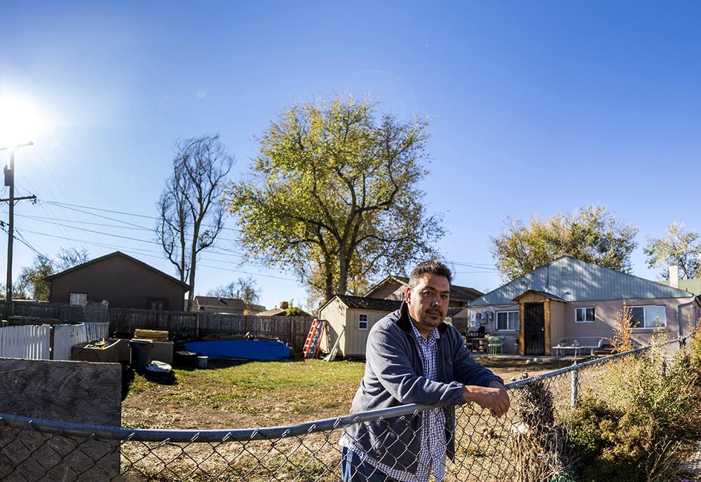 Miguel Ramirez behind his Westwood home, Nov. 13, 2017. (Kevin J. Beaty/Denverite)  denver; colorado; denverite; westwood; kevinjbeaty; adu; accessory dwelling unit;