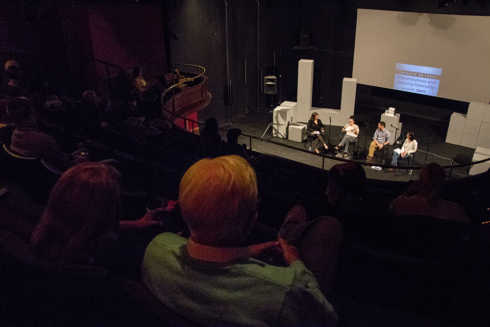 Denverite throws a panel discussion about homelessness and housing insecurity, Nov. 14, 2017. (Kevin J. Beaty/Denverite)  denver; denverite; kevinjbeaty; colorado; curious theatre; denverite events;