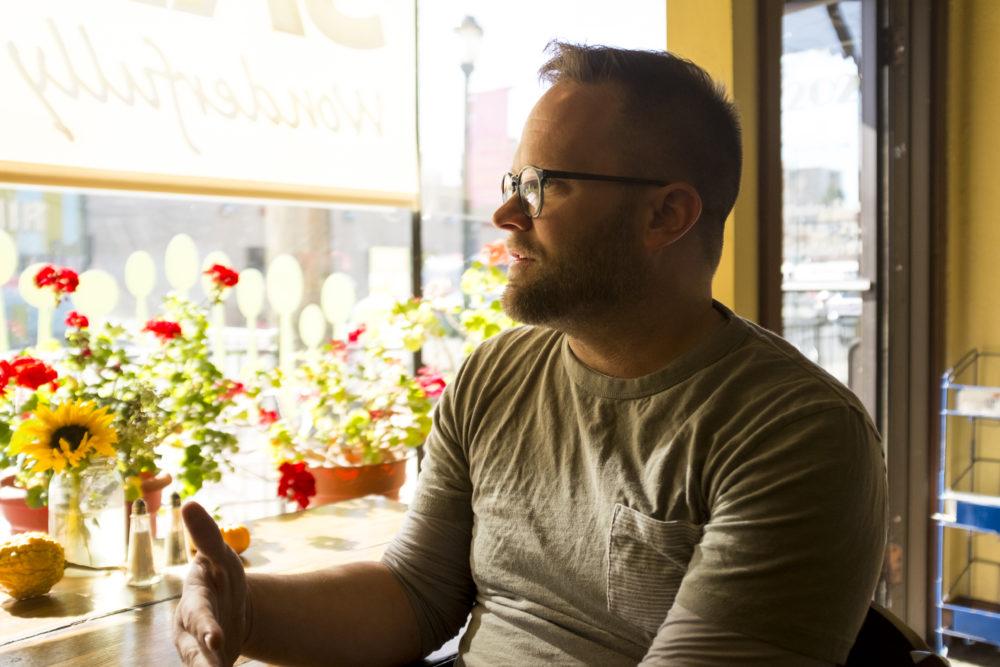 SAME Cafe Executive Director Brad Allen Reubendale inside the East Colfax eatery, Nov. 15, 2017. (Kevin J. Beaty/Denverite)  denver; colorado; denverite; kevinjbeaty; same cafe; food insecurity; colfax; city park west; food; restaurant;