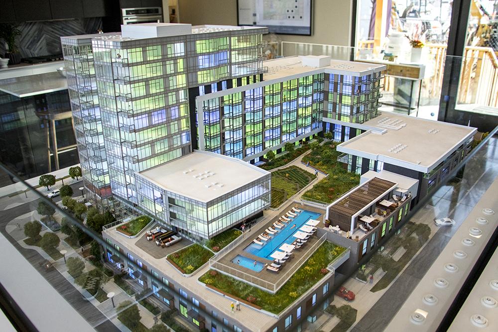 A model of the future Lakehouse multi-use building. Sloans Denver, Nov. 16, 2017. (Kevin J. Beaty/Denverite)  denver; colorado; denverite; kevinjbeaty; sloans lake; sloans denver; development; residential real estate; lakehouse;
