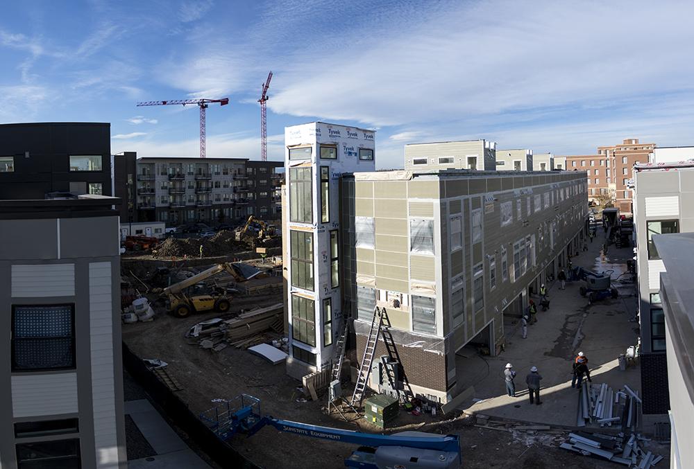 Construction on Perry Row at Sloans Lake. Sloans Denver, Nov. 16, 2017. (Kevin J. Beaty/Denverite)  denver; colorado; denverite; kevinjbeaty; sloans lake; sloans denver; development; residential real estate;