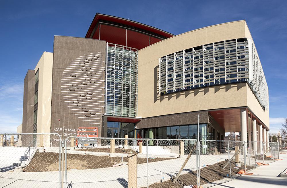The Cara Madison Recreation Center is still under construction, Nov. 22, 2017. (Kevin J. Beaty/Denverite)  cara madison recreation center; rec center; colfax; kevinjbeaty; denver; denverite; colorado;