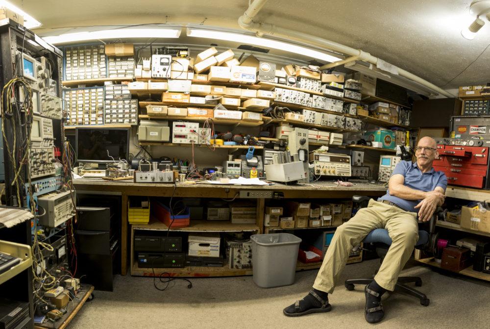 Tom Dodds in his basement workshop, Nov. 22, 2017. (Kevin J. Beaty/Denverite)  sound totems; denver; public art; denverite; colorado; kevinjbeaty;