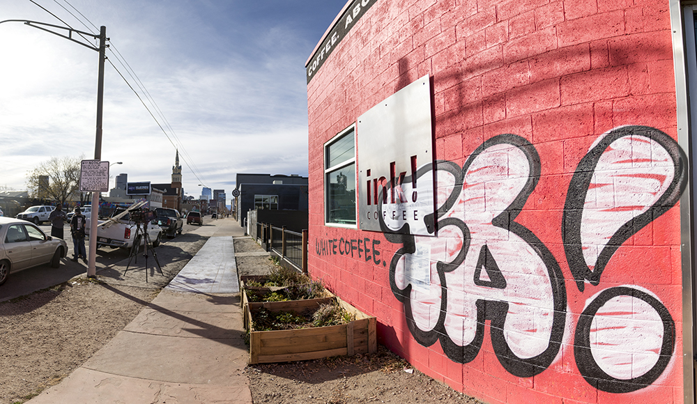 The aftermath of Ink! Coffee's signage snafu. (Kevin J. Beaty/Denverite)  denver; colorado; gentrification; rino; five points; ink coffe; kevinjbeaty; denverite;