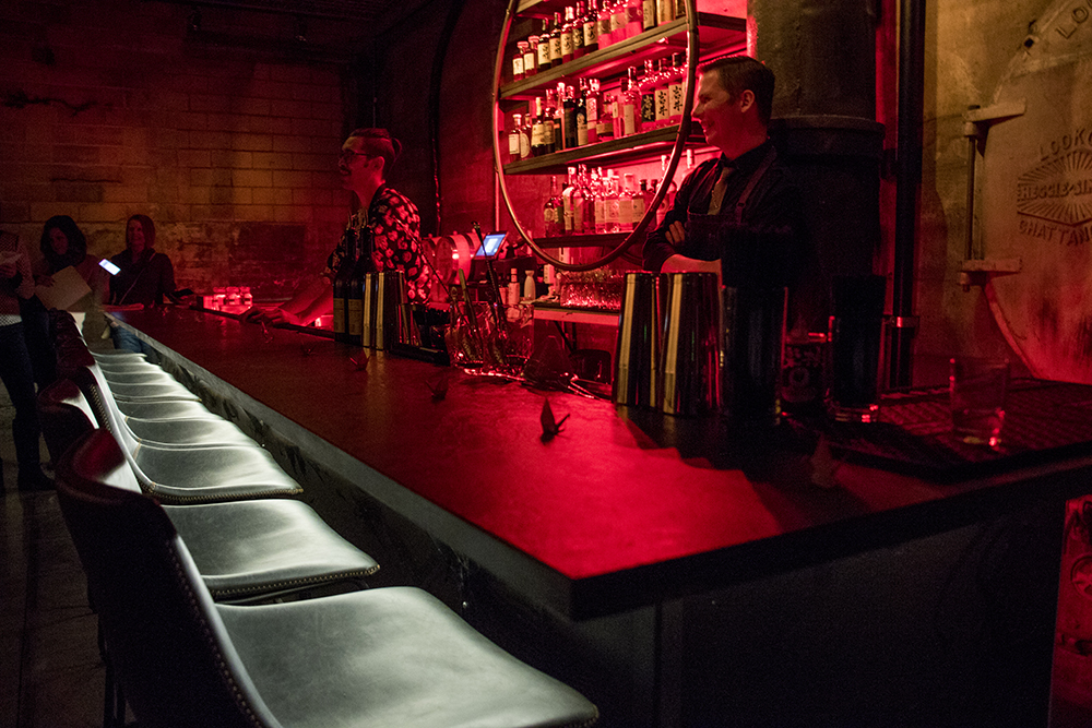 Izakaya Ronin head chef and partner Corey Baker (left) and lead bartender Dusty O'Connell in their downstairs speakeasy-style bar, Nov. 28, 2017. (Kevin J. Beaty/Denverite)  kevinjbeaty; denver; denverite; colorado; food; rino; brighton boulevard; five points; nightlife;