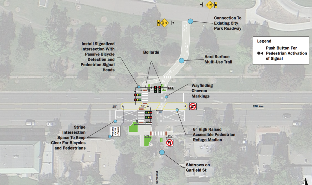 A concept plan for changes at 17th and Garfield. (City and County of Denver)