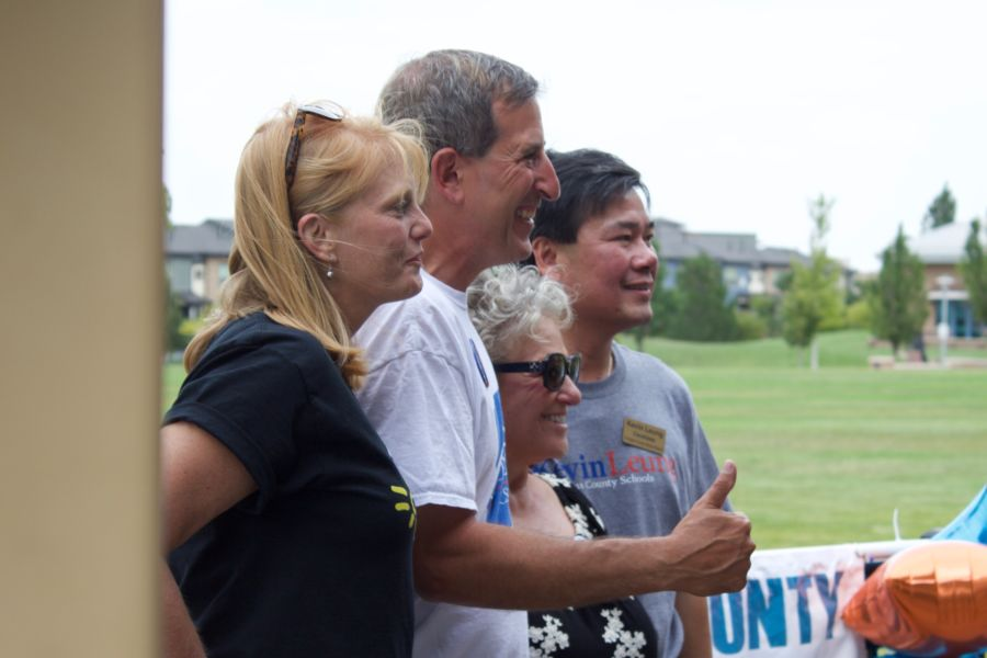 The nation's second largest teachers union is spending $300,000 to support a slate of candidates running for the Douglas County school board. Those candidates posed for pictures at their campaign kick-off event are from left, Krista Holtzmann, Anthony Graziano, Chris Schor, and Kevin Leung. (Nic Garcia/Chalkbeat)