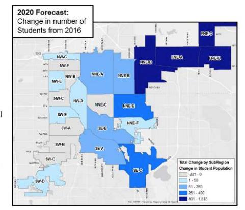 Projected enrollment growth in Denver. (Denver Public Schools)
