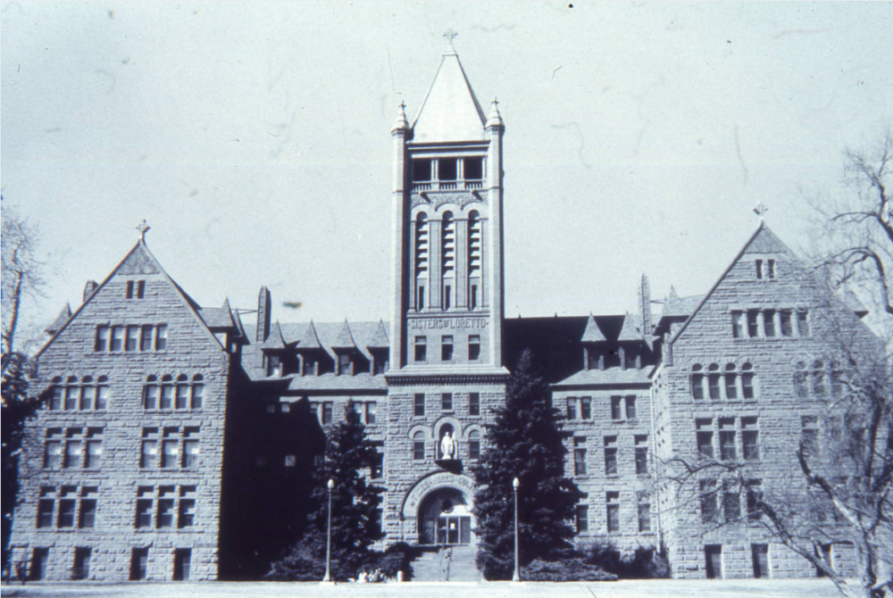 Exterior photograph of the Loretto Heights Academy located in Denver, Colorado. Founded by the Sisters of Loretto, under the direction of Mother Pancratia Bonfils, the college began as Loretto Heights Academy, a Catholic boarding school for girls. (History Colorado, Denver Public Library Western History Collection, 5DV162OAHP)
