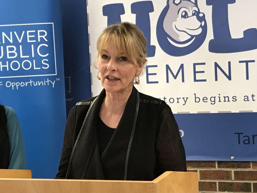 Denver school board vice president Barbara O'Brien speaks at a recent press conference at Holm Elementary. (Melanie Asmar/Chalkbeat)