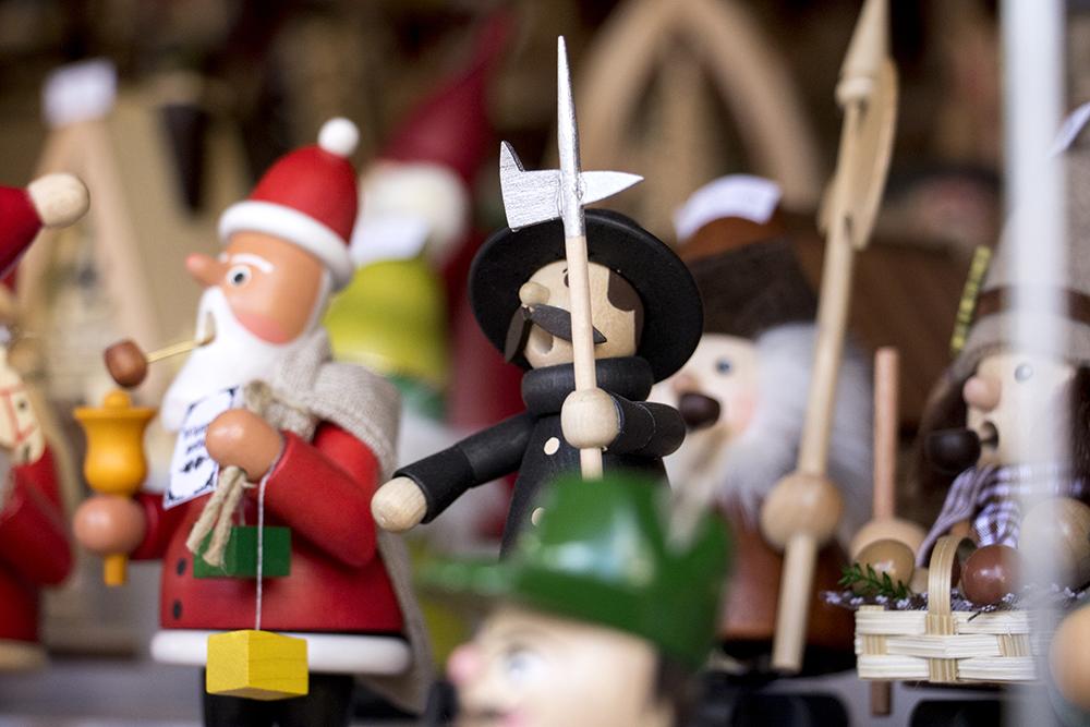Little wooden men for sale at Old German Christmas, a booth at Skyline Park's  Christkindl Market, Dec. 4, 2017. (Kevin J. Beaty/Denverite)