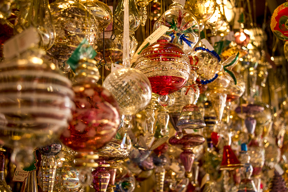 Glass ornaments at Unique Glass Ornaments, a booth at Skyline Park's Christkindl Market, Dec. 4, 2017. (Kevin J. Beaty/Denverite)