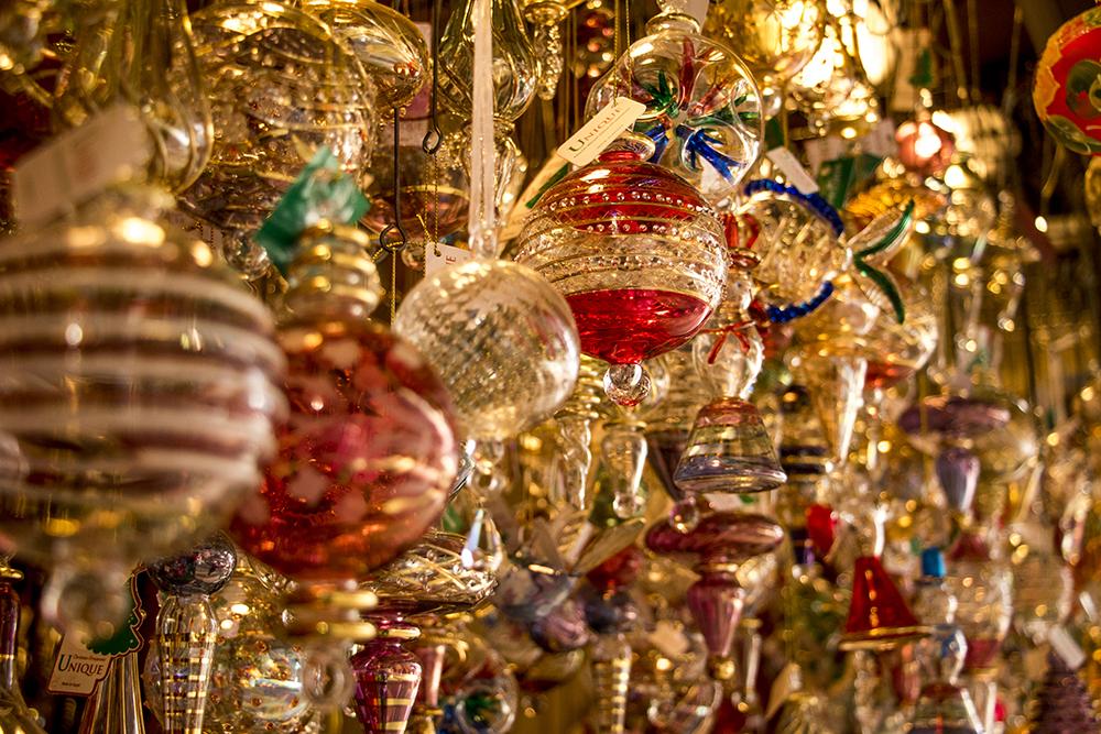 Glass ornaments at Unique Glass Ornaments, a booth at Skyline Park's Christkindl Market, Dec. 4, 2017. (Kevin J. Beaty/Denverite)