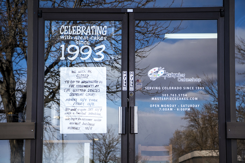 The Masterpiece Cakeshop in Lakewood is closed as owners testify before the U.S. Supreme Court, Dec. 4, 2017. (Kevin J. Beaty/Denverite)  colorado; denverite; kevinjbeaty; littleton; scotus; masterpiece cakeshop;