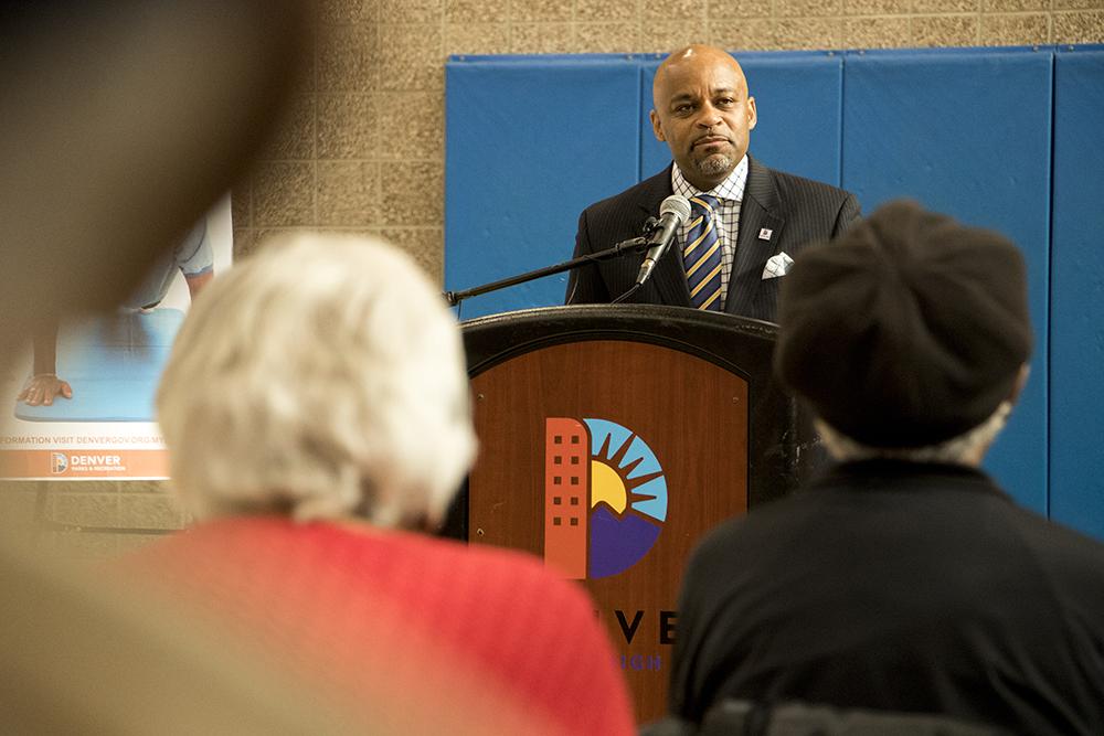 Mayor Michael Hancock speaks at a press conference announcing the inception of Denver Prime, free access to rec centers for Denver residents over 60. Dec. 6, 2017. (Kevin J. Beaty/Denverite)  denver; colorado; denverite; kevinjbeaty; rec center; aging; lowry field;