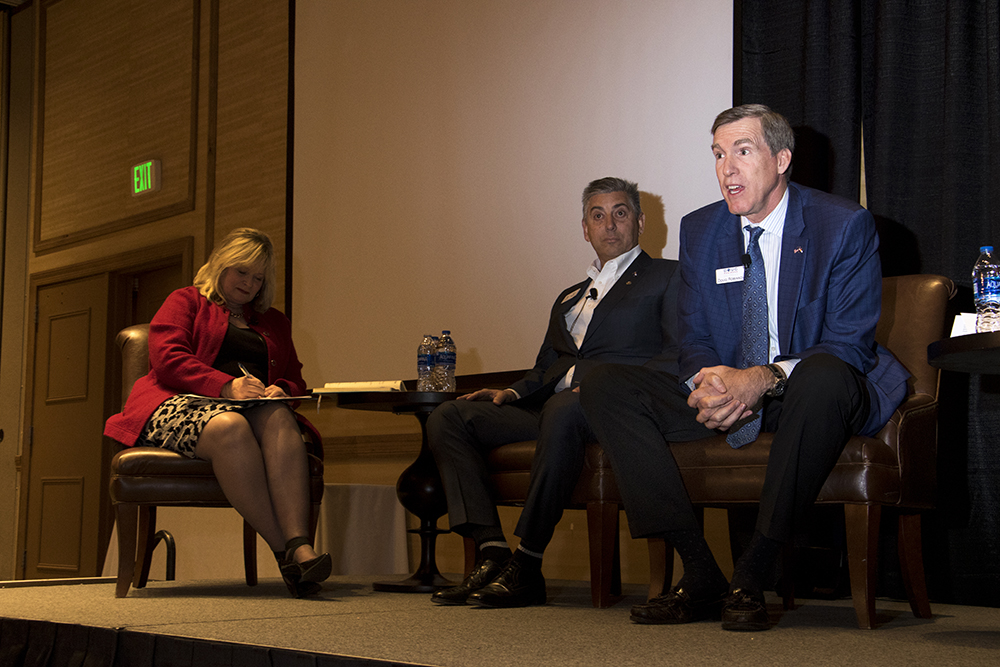 Republican gubernatorial candidates Cynthia Coffman (left to right), Victor Mitchell and Doug Robinson speak at the Colorado Health Institute's Hot Issues in Health conference, Dec. 8, 2017. (Kevin J. Beaty/Denverite)  denver; colorado; denverite; kevinjbeaty; election; governors race; gubernatorial; candidate;
