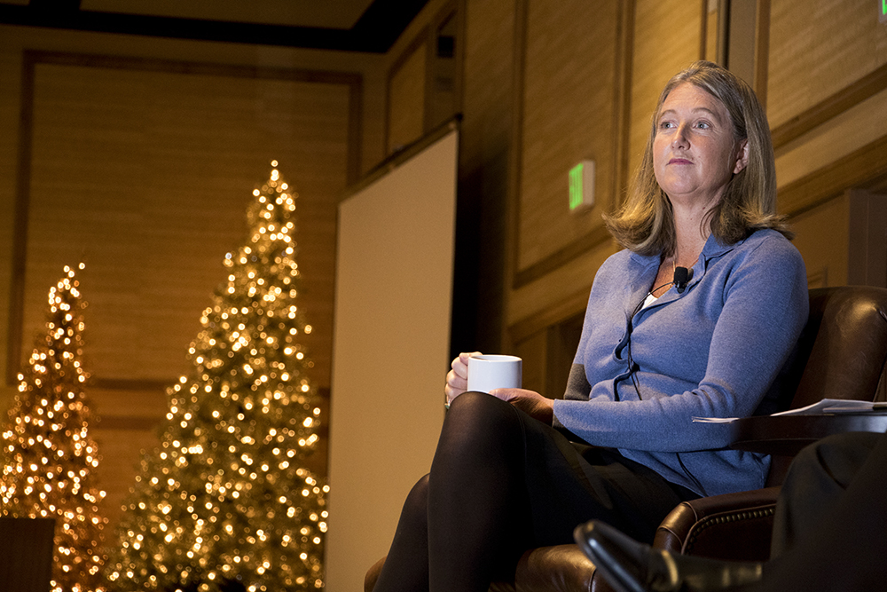 Democratic gubernatorial candidate Cary Kennedy speaks at the Colorado Health Institute's Hot Issues in Health conference, Dec. 8, 2017. (Kevin J. Beaty/Denverite)  denver; colorado; denverite; kevinjbeaty; election; governors race; gubernatorial; candidate;