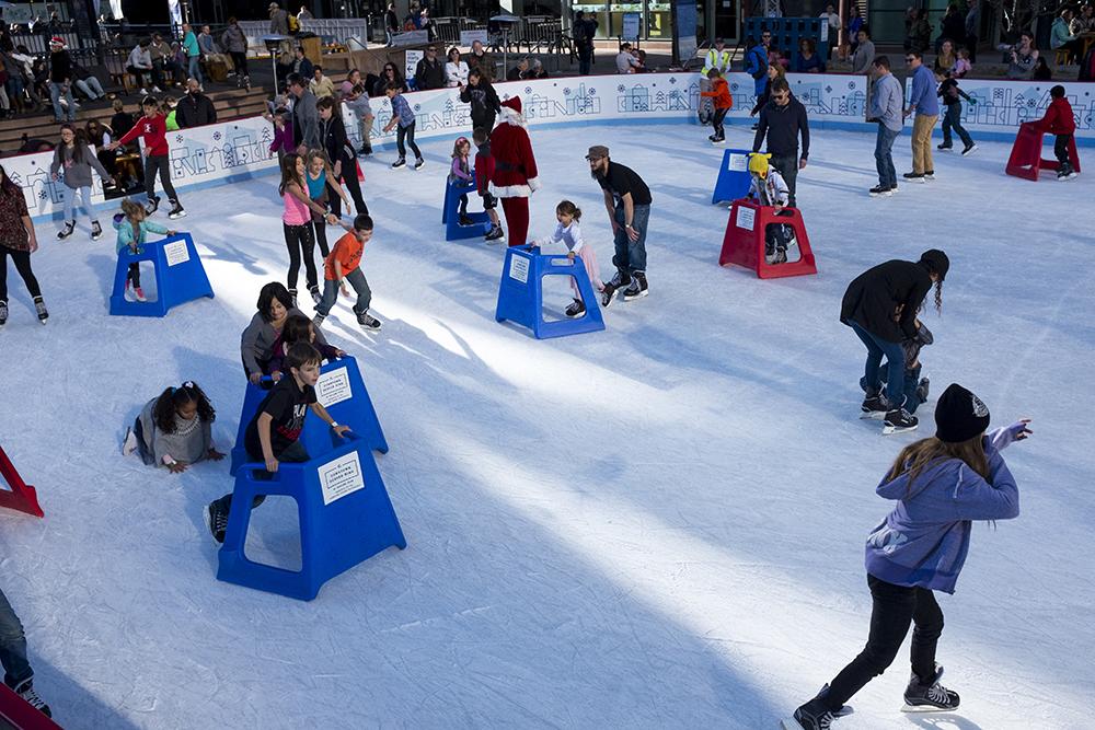 Saturday skating at Skyline Park, Dec. 10, 2017. (Kevin J. Beaty/Denverite)  denver; colorado; denverite; kevinjbeaty; skyline park; winter; holidays; ice skating;