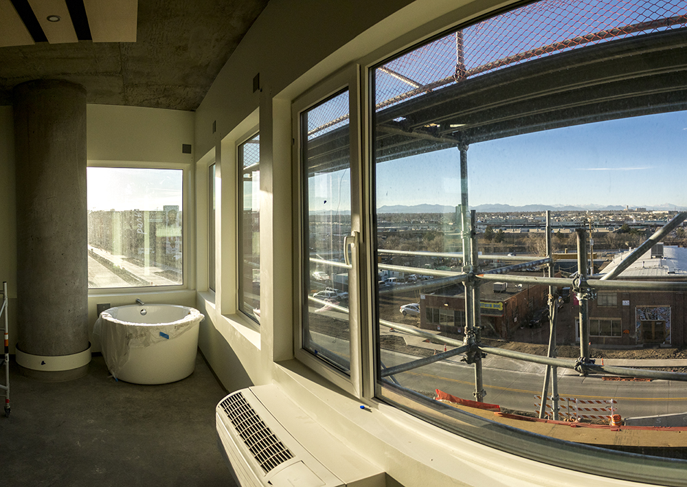 A hotel room at the Source Hotel, which is under construction, Dec. 12, 2017. (Kevin J. Beaty/Denverite)  rino; five points; brighton boulevard; the source; development; construction; kevinjbeaty; denver; denverite; colorado;