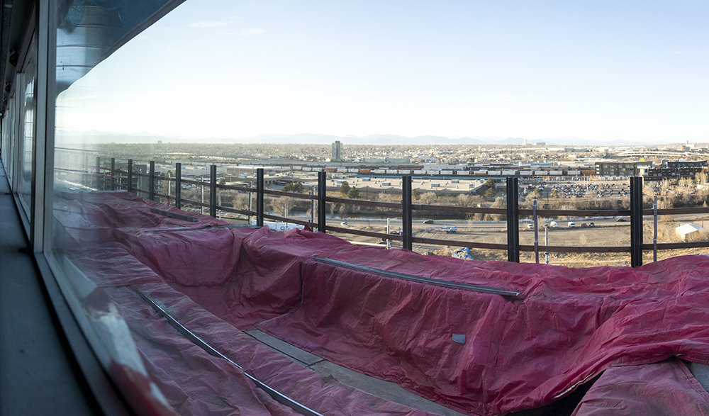 The view from the Source Hotel and the future site of a rooftop pool, Dec. 12, 2017. (Kevin J. Beaty/Denverite)  rino; five points; brighton boulevard; the source; development; construction; kevinjbeaty; denver; denverite; colorado;