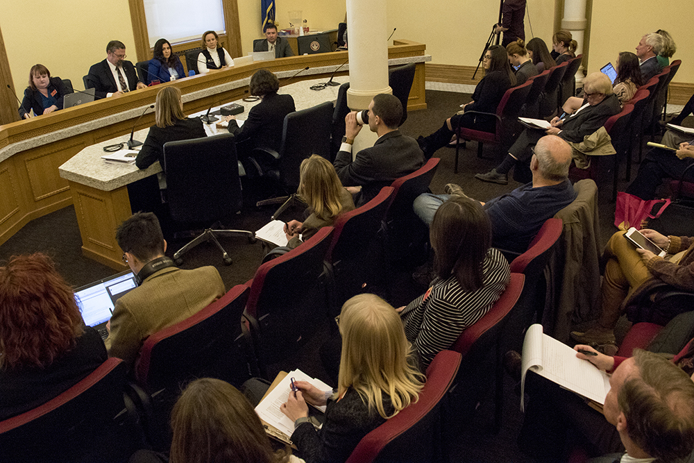 A legislative executive committee meeting on sexual harassment at the Capitol, Dec. 15, 2017. (Kevin J. Beaty/Denverite)  government; copolitics; denver; colorado; denverite; legislation; sexual harassment; kevinjbeaty;