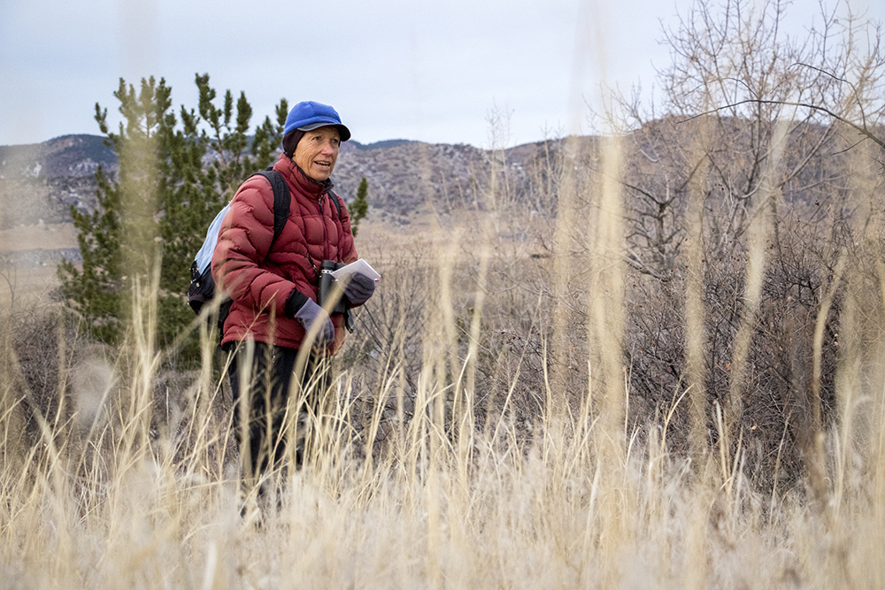 Urling Kingery leads the Audubon Society of Greater Denver's Christmas Bird Count at Chatfield State Park, Dec. 16, 2017. (Kevin J. Beaty/Denverite)  chatfield state park; littleton; animals; conservation; kevinjbeaty; denverite; colorado;