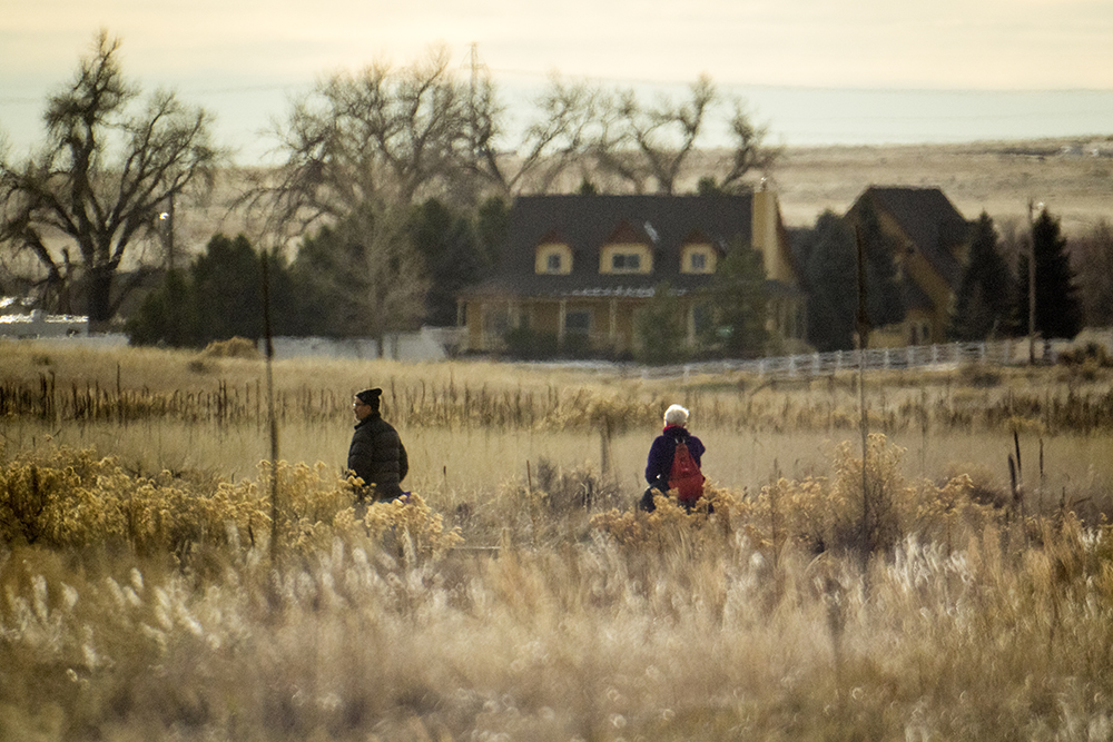 Frank Coons and Deb Ostergard trek through Chatfield State Park on the Audubon Society of Greater Denver's Christmas Bird Count, Dec. 16, 2017. (Kevin J. Beaty/Denverite)  chatfield state park; littleton; animals; conservation; kevinjbeaty; denverite; colorado;