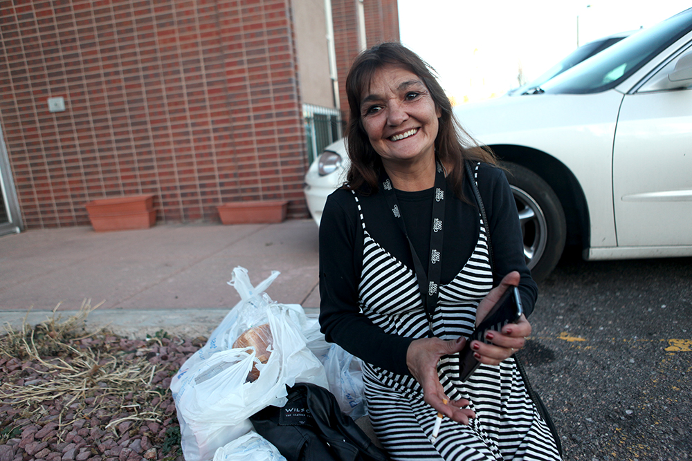 Rhonda, who declined to give her last name, was an original resident of Beloved Community Village. She posed for a photo outside the nonprofit Empowerment Program in Denver on Wednesday, Dec. 19, 2017. (Andrew Kenney/Denverite)  homelessness; tiny homes; denver; colorado; andykenney; denverite;