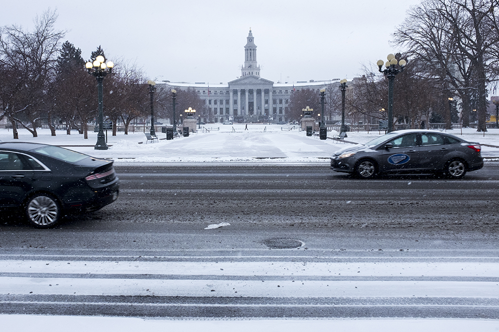 Snow day at the City and County Building, Dec. 21, 2017. (Kevin J. Beaty/Denverite)
