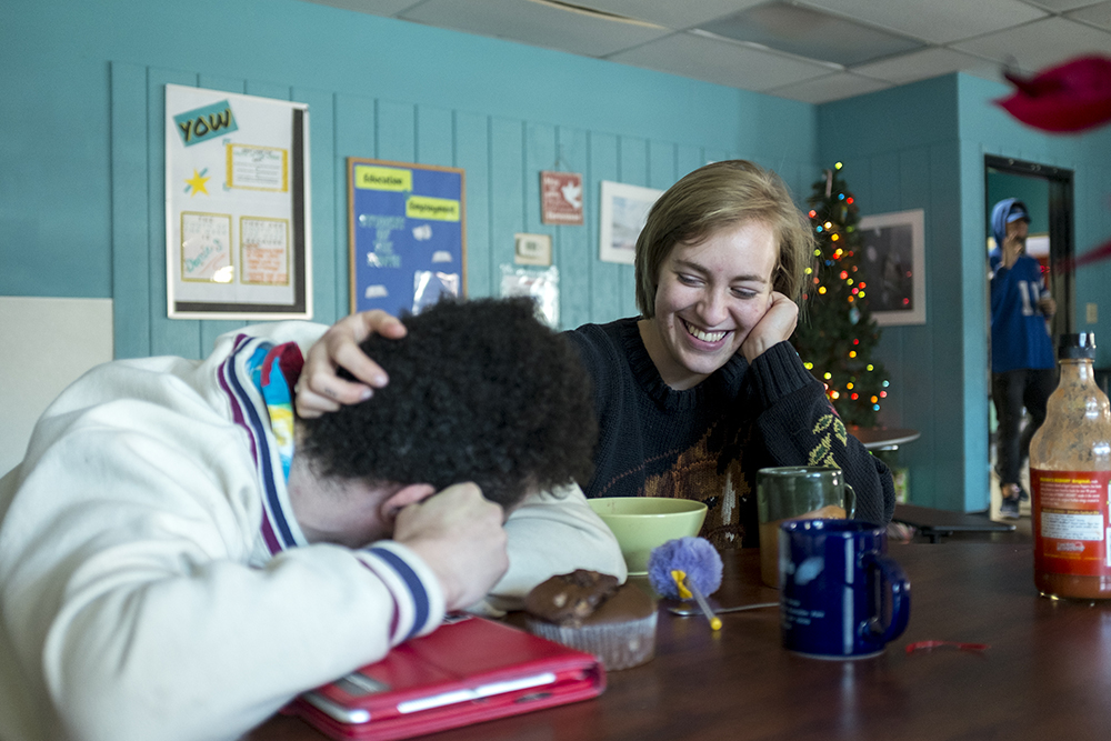 Ruth and her boyfriend Ace, both 20, after breakfast. Christmas Day at Urban Peak, a shelter for Denver's homeless youth, Dec. 25, 2017. (Kevin J. Beaty/Denverite)  homeless; urban peak; denver; denverite; colorado; kevinjbeaty;