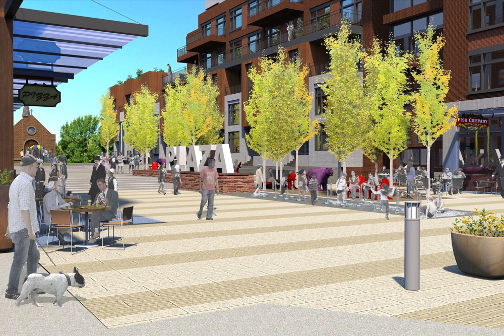 An eye-level rendering of the renovated Chapel Plaza within the Sloans development. (Courtesy of EnviroFinance Group)