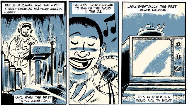 "Panels from ""Hattie McDaniel,"" an issue of Colorful History written by R. Alan Brooks and illustrated by Zak Kinsella for Pop Culture Classroom. (Courtesy Pop Culture Classroom)"