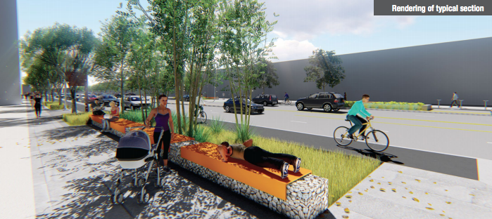 A rendering of a typical stretch of the future Brighton Boulevard. (City and County of Denver)