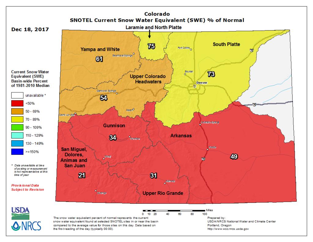 Colorado has seen far less precipitation than usual. (USDA)