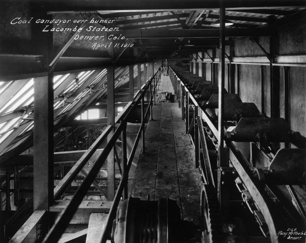 A coal conveyor at the Lacombe power plant in Denver, 1919. (Rocky Mountain Photo Company/Denver Public Library/Western History & Genealogy Dept.)