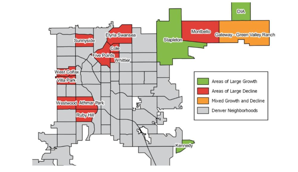 A map of enrollment changes in 2017 at Denver Public Schools. (Denver Public Schools/DRCOG/Shift)