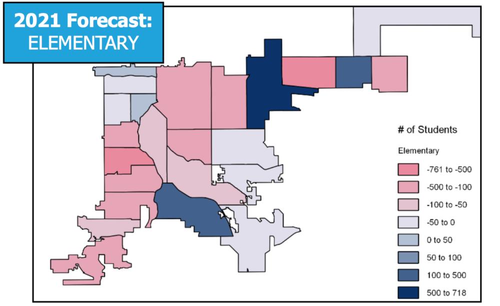 Projected changes in elementary school enrollment for 2021. (Denver Public Schools/DRCOG/Shift)