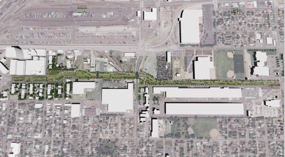 An overhead rendering of the 39th Avenue greenway and drainage area. (City and County of Denver)