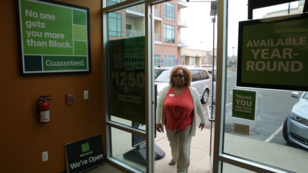 Retired Wayne County Sherriff's officer and H&R Block senior tax advisor Valencia Lundy entering an H&R Block tax office in Detroit on February 21, 2017. (Courtesy of H&R Block)