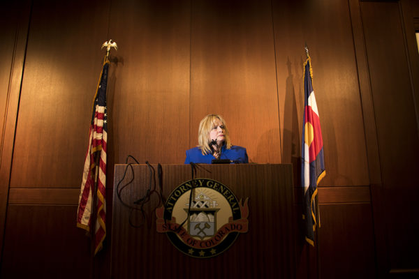 Attorney General Cyntia Coffman speaks about a new stance on marijuana announced by the federal justice department, Jan. 4, 2018. (Kevin J. Beaty/Denverite)  cynthia coffman; marijuana; copolitics; kevinjbeaty; denver; denverite; colorado;