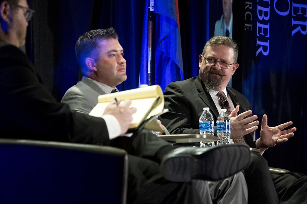 Senate President Kevin Grantham (right) and House Minority Leader Patrick Neville speak at the 5th Annual Business Legislative Preview, Jan. 4, 2018. (Kevin J. Beaty/Denverite)  copolitics; legislature; denver; denverite; colorado; kevinjbeaty;