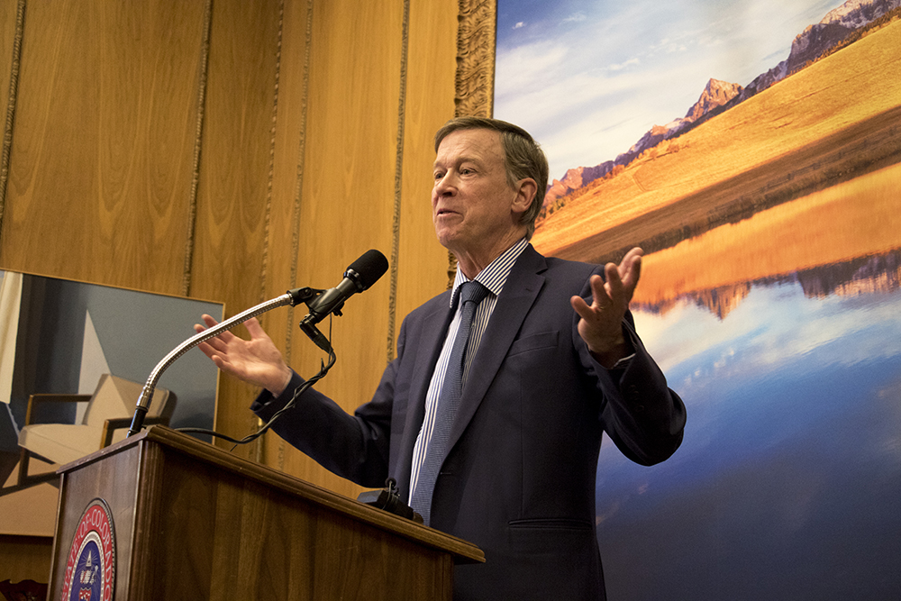 Governor Hickenlooper addresses the press in his office a week ahead of his state of the state address, Jan. 4, 2017. (Kevin J. Beaty/Denverite)