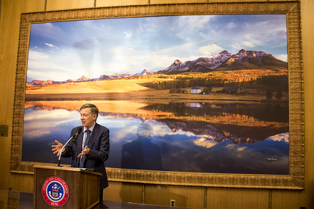 Governor Hickenlooper addresses the press in his office a week ahead of his state of the state address, Jan. 4, 2017. (Kevin J. Beaty/Denverite)  denver; colorado; denverite; kevinjbeaty; governor john hickenlooper; copolitics;