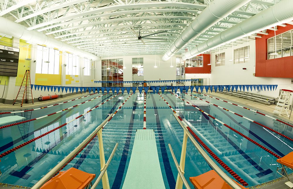 The lap pool inside the Carla Madison Central Denver Rec Center, Jan. 8, 2017. (Kevin J. Beaty/Denverite)  carla madison rec center; parks and rec; denver; denverite; colorado; kevinjbeaty; recreation;
