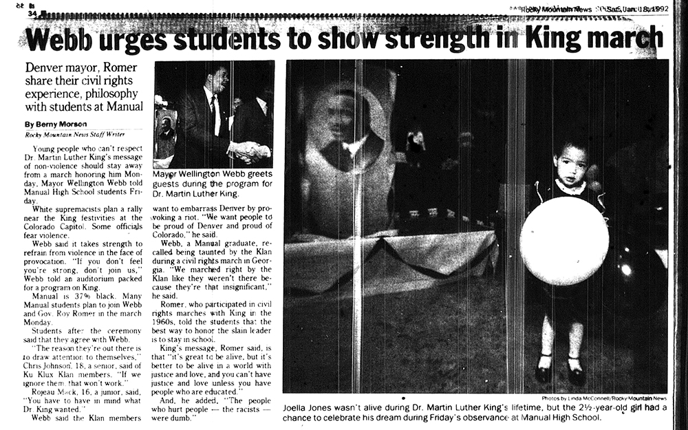 The Rocky Mountain News, Jan 18, 1992. (Denver Public Library/Western History Collection)